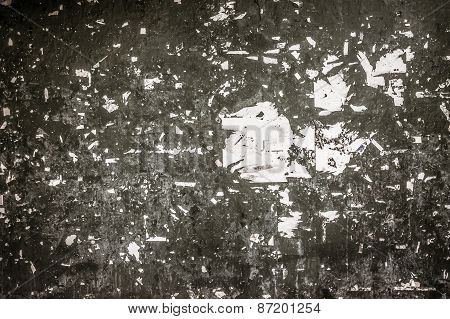 Dirty Wall Stock With Paper Scrap And Pieces Of Paper In Grain Color