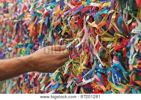 Senhor Do Bonfin Wristbands At Pelourinho In Salvador, Bahia, Brazil