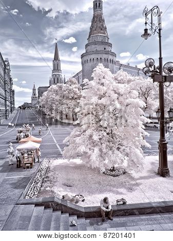 Moscow. Manezhnaya Square And Kremlin. Infrared Photo