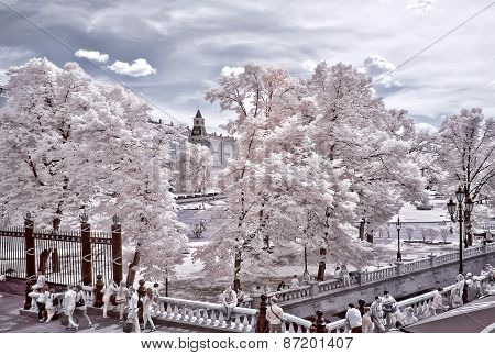 Moscow. Alexander Garden And Kremlin. Infrared Photo