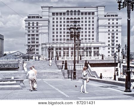 Moscow. Manezhnaya Square. Infrared Photo