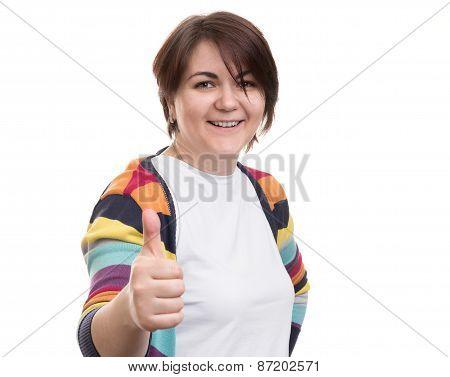 Smiling Woman Thumb Up