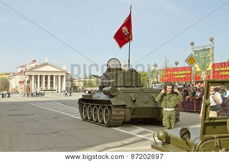T-34 tank with the inscription