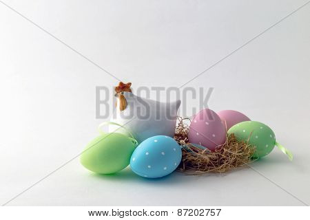 Easter Decoration Of Eggs And Chicken Figure