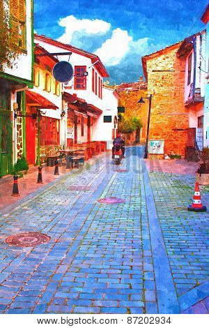 A Digitally Constructed Painting Of Cobbled Back Streets Of Kaleici In Antalya Turkey