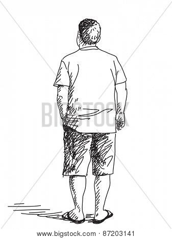 Sketch of standing man from back Hand drawn Vector illustration