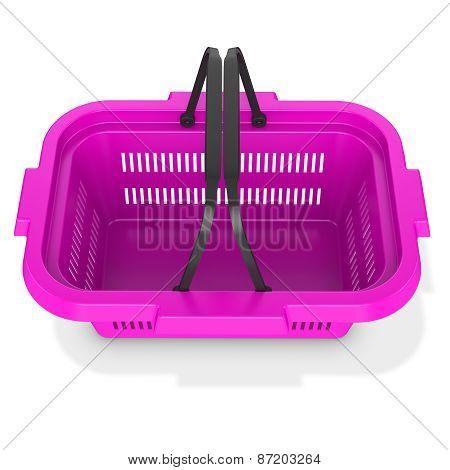 3D Purple  Empty Shopping Basket