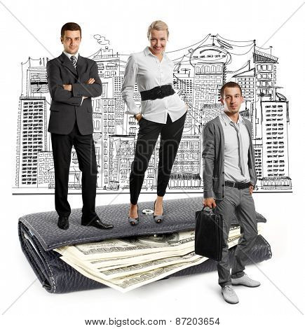Business team and USA dollars in wallet, isolated on white background