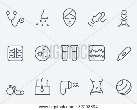 Medicine icon set, thin line design
