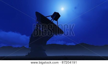 telescope on a moonlit night