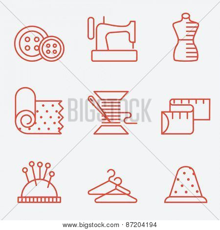 Sewing and needlework icons, thin line style, flat design