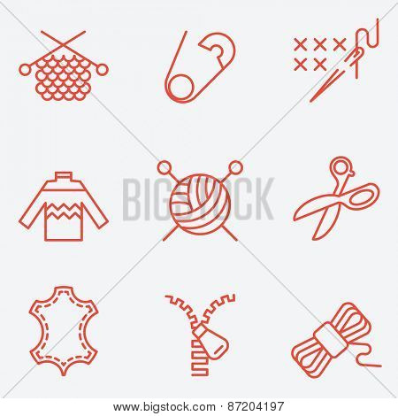 Knitting and needlework icons, thin line style, flat design