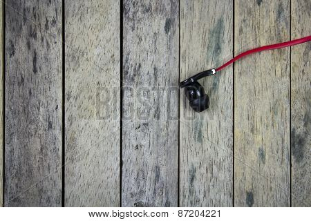 Earphone Put On Wood Plank, Life Style Background