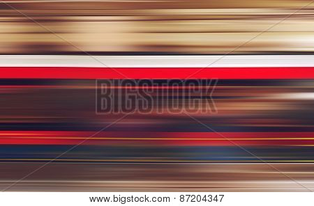 Blurred Defocused Subway Train In Motion As Abstract Urban Background