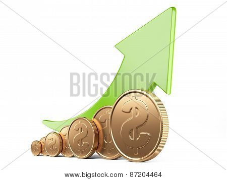 Financial Success Concept. Green Up Arrow And Gold Coins
