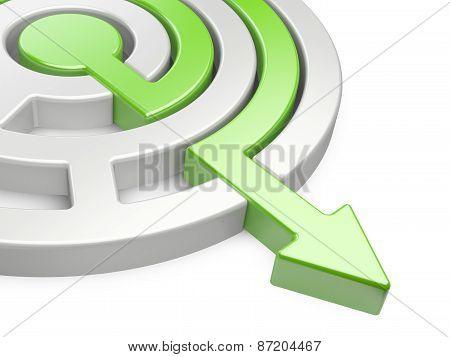 3D Circle Maze With Green Arrow