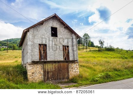 Small Barn On The Side Of The Road In Espies