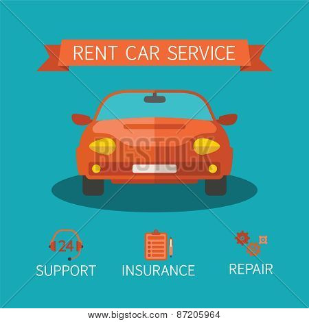 Rent Car Service Vector Concept In Flat Style