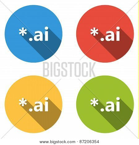 Collection Of 4 Isolated Flat Colorful Buttons (icons) For Ai Extension
