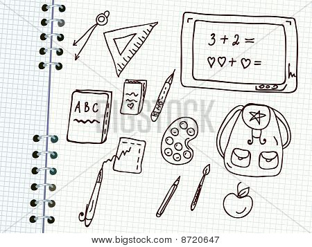 School doodle set in the notebook