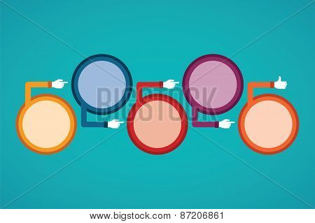 Abstract Vector Timeline Infographic Template In Flat Style For Layout Workflow Scheme, Numbered Opt