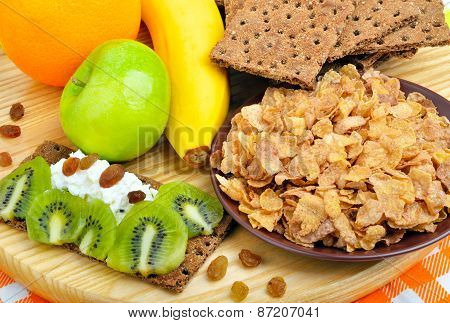 Healthy Eating. Fresh Fruit, Cornflakes And Dry Loaves With Curd