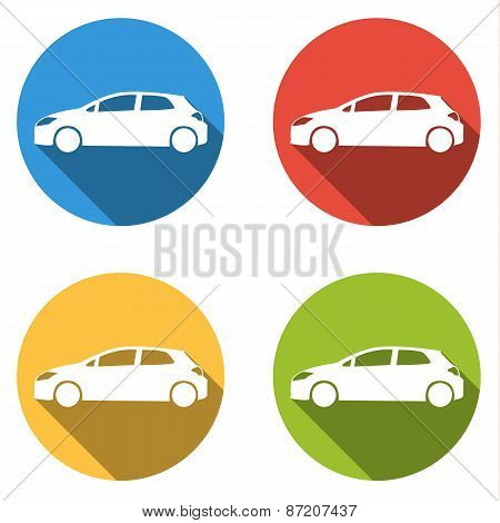 Collection Of 4 Icons For Hatchback Car - Cargo, Transport