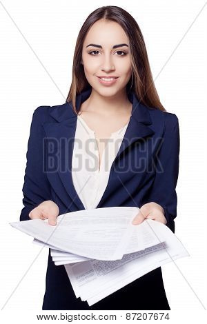 Young Woman Hold Pages Of Paper. Paperworker