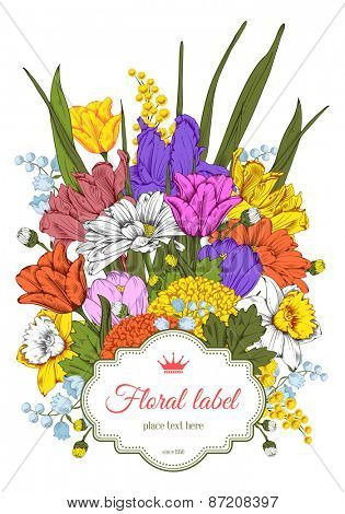 Vintage card for invitation or other life events. Hand drawn spring garden flowers isolated on white background. Vector illustration.