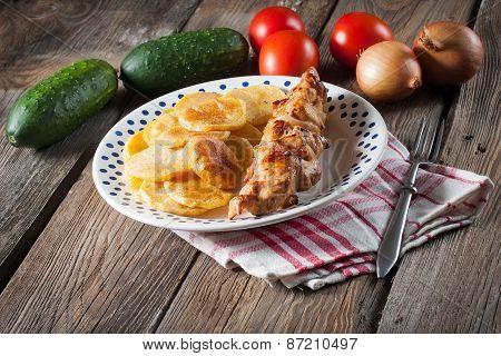 Shashlik With Fried Potatoes.
