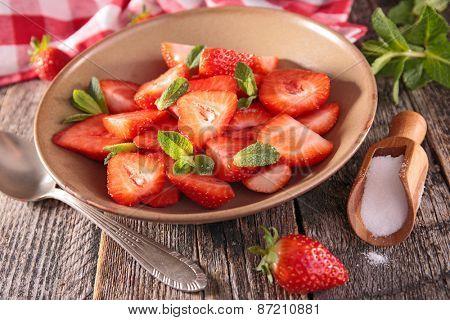 strawberry on bowl