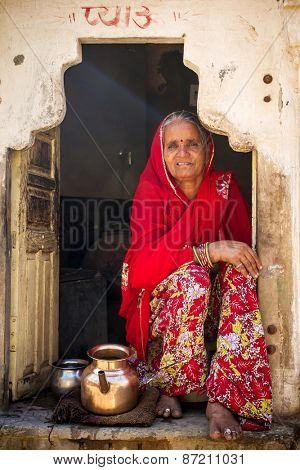 JAIPUR, INDIA - NOVEMBER 27, 2012: Portrait of unidentified Indian woman in Jaipur, India
