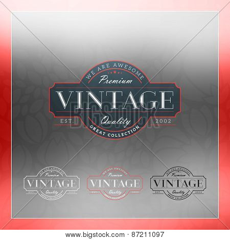 Retro Vintage Insignia, Logotype, Label Or Badge. Business Sign Design Template With Color Variation