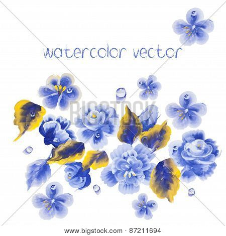 Watercolor Vector Flowers. Vector Watercolour Flowers.