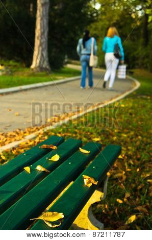 Autumn scenery, yellow leaves on a green bench in a park