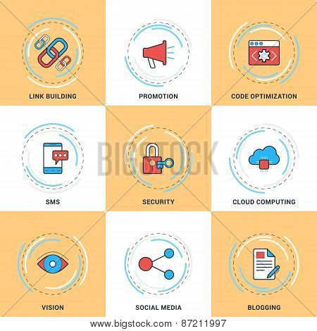 Modern Vector Line Icons Set. Security, Search Engine Optimization, Promotion, Cloud Computing, Blog
