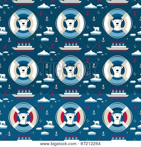 Polar Bear Seamless Pattern With Lifebuoy