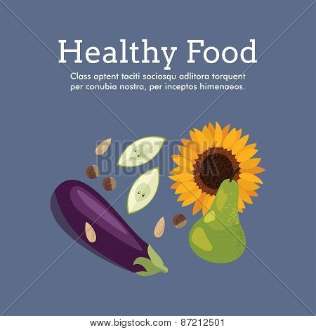 World Health Day Celebrating Card Or Poster Design. Healthy Food