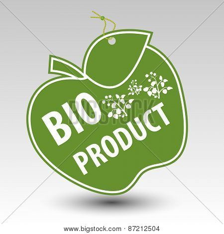 Green Bio Product Apple Tag Label