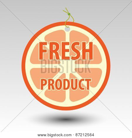 Circle Fresh Fruit Product Orange Tag Label