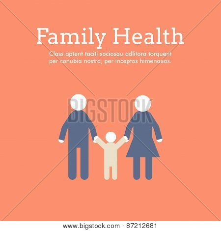 World Health Day Celebrating Card Or Poster Design. Family Health. Flat Design