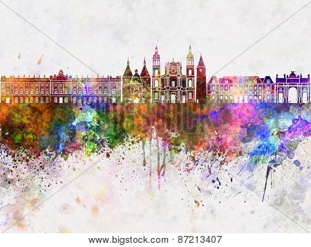 Nancy Skyline In Watercolor Background