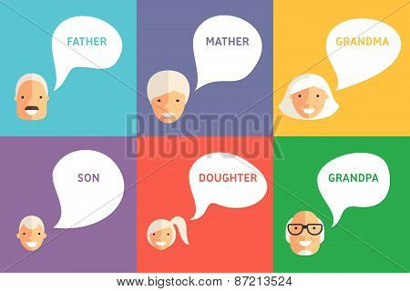 Happy Family. Father, Mother, Grandpa, Grandma, Son And Daughter With Speech Bubbles