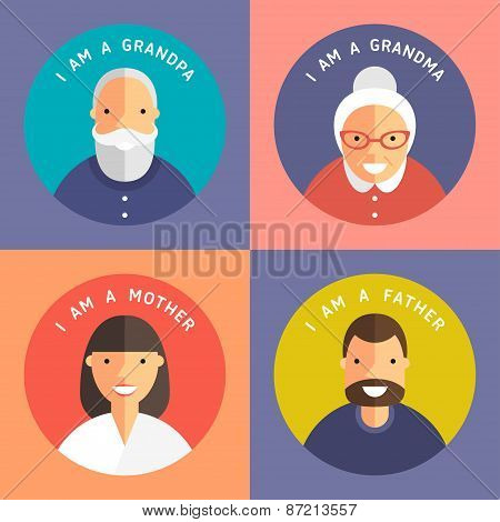 Set Of Family Members Portraits. Grandpa, Grandma, Mother And Father. Flat Design Icon