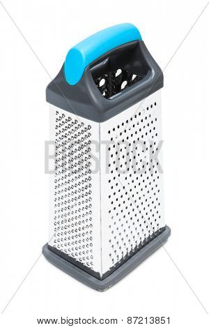 new metal grater on a white background