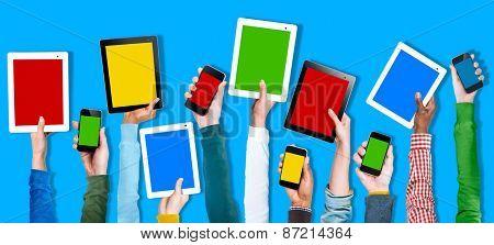 Multi Ethnic Arm Raised Unity Togetherness Digital Device Concept