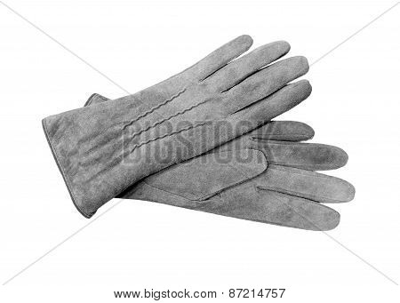 Beautiful Grey Suede (leather) Women's Gloves Isolated On White