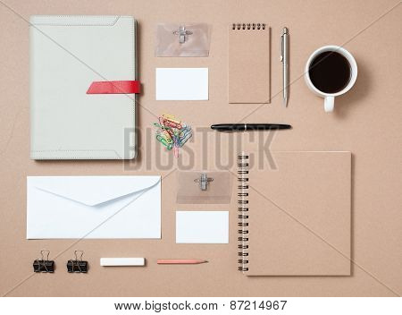 Mock up template of stationary and electronic tools in every day life