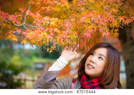 Cute Asian Thai Girl Is Touching Red Leaves In Autumn Season Above Her Head. This Is Japanese Concep