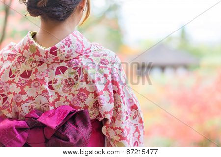 Back Of A Pretty Japanese Girl In Beautiful Atmosphere